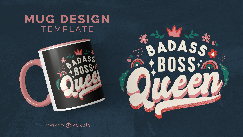 Boss queen lettering quote mug design