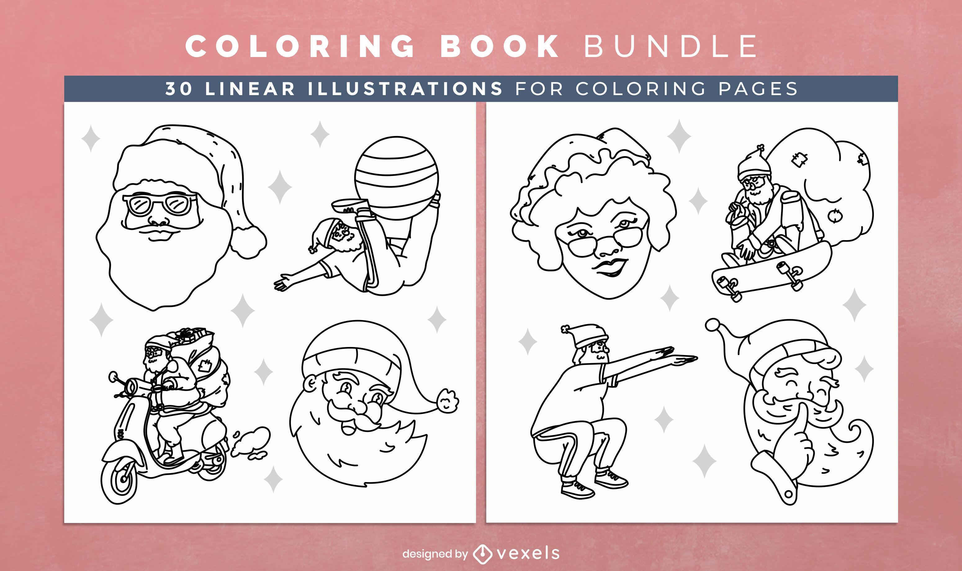 Santa claus coloring book design pages