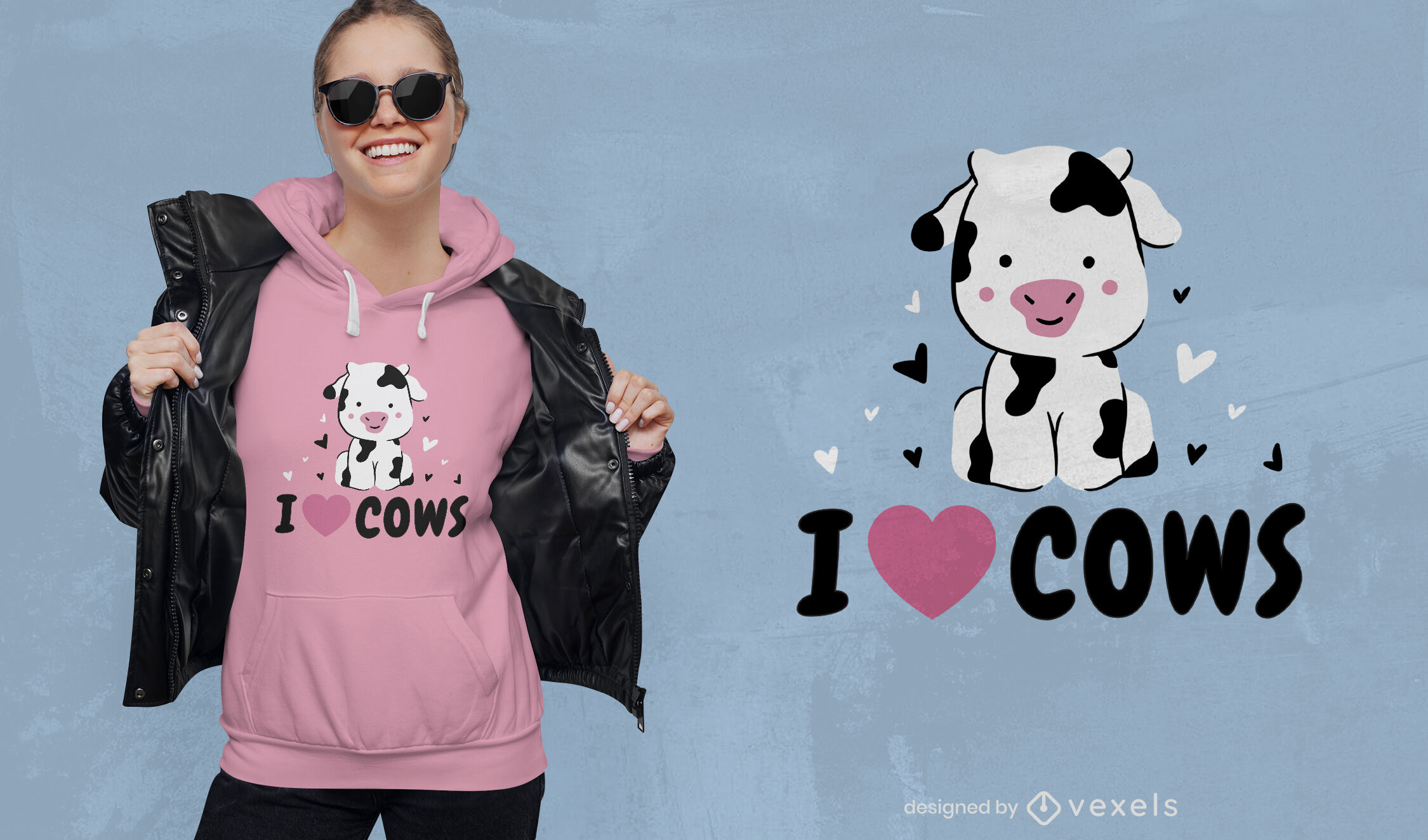 Diseño lindo de la camiseta de las vacas de I love