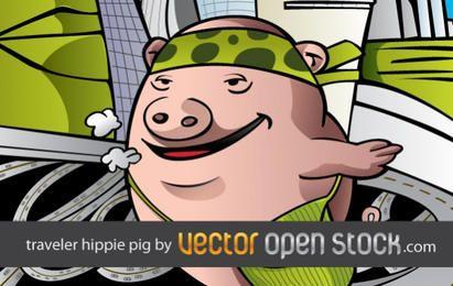 Cerdo hippie viajando por el mundo