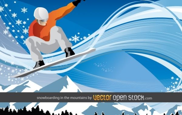 Snowboarding in the Mountains Wallpaper