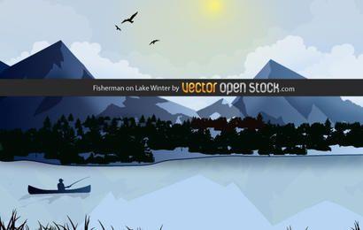 Pescador en el lago invierno