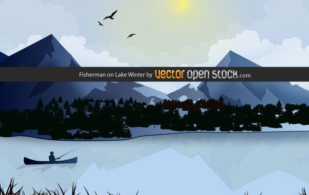 Pescador en el lago de invierno