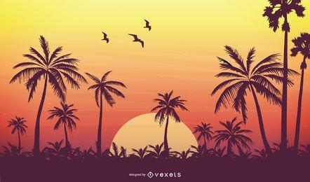 Diseño vectorial de puesta de sol tropical