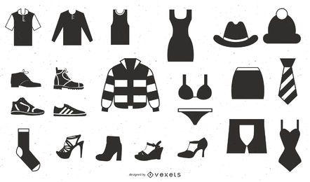 Vektorikone stellte 25 Kleidungs-Ikonen ein