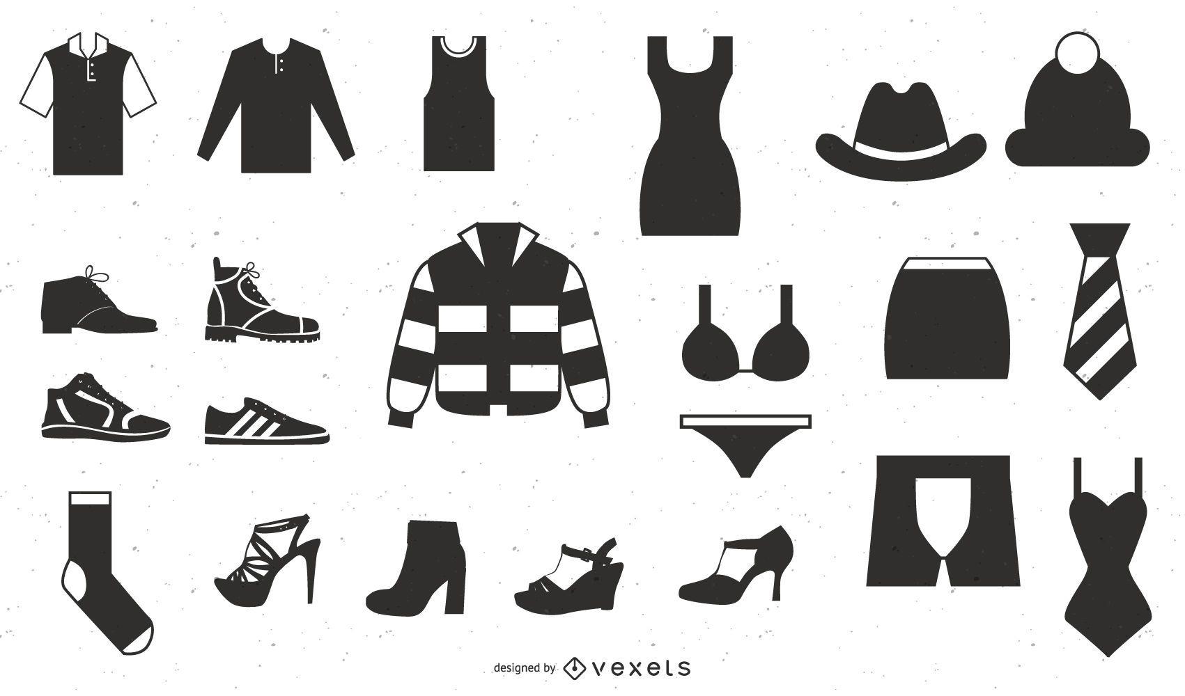 Vector Icon Set 25 iconos de ropa