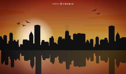 Diseño de silueta de horizonte de la ciudad