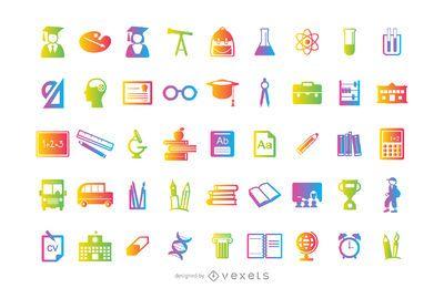 Educação e ciência 45 conjuntos de ícones