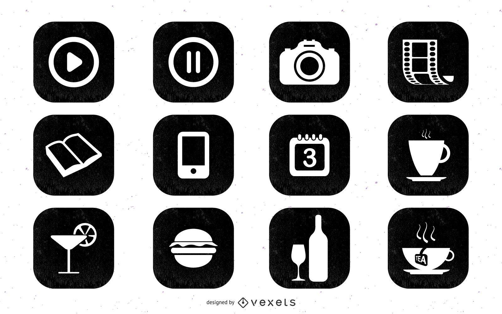 Web2.0 simple icono negro