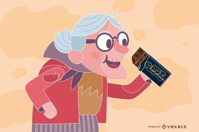 Velha Senhora com Design de Barra de Chocolate