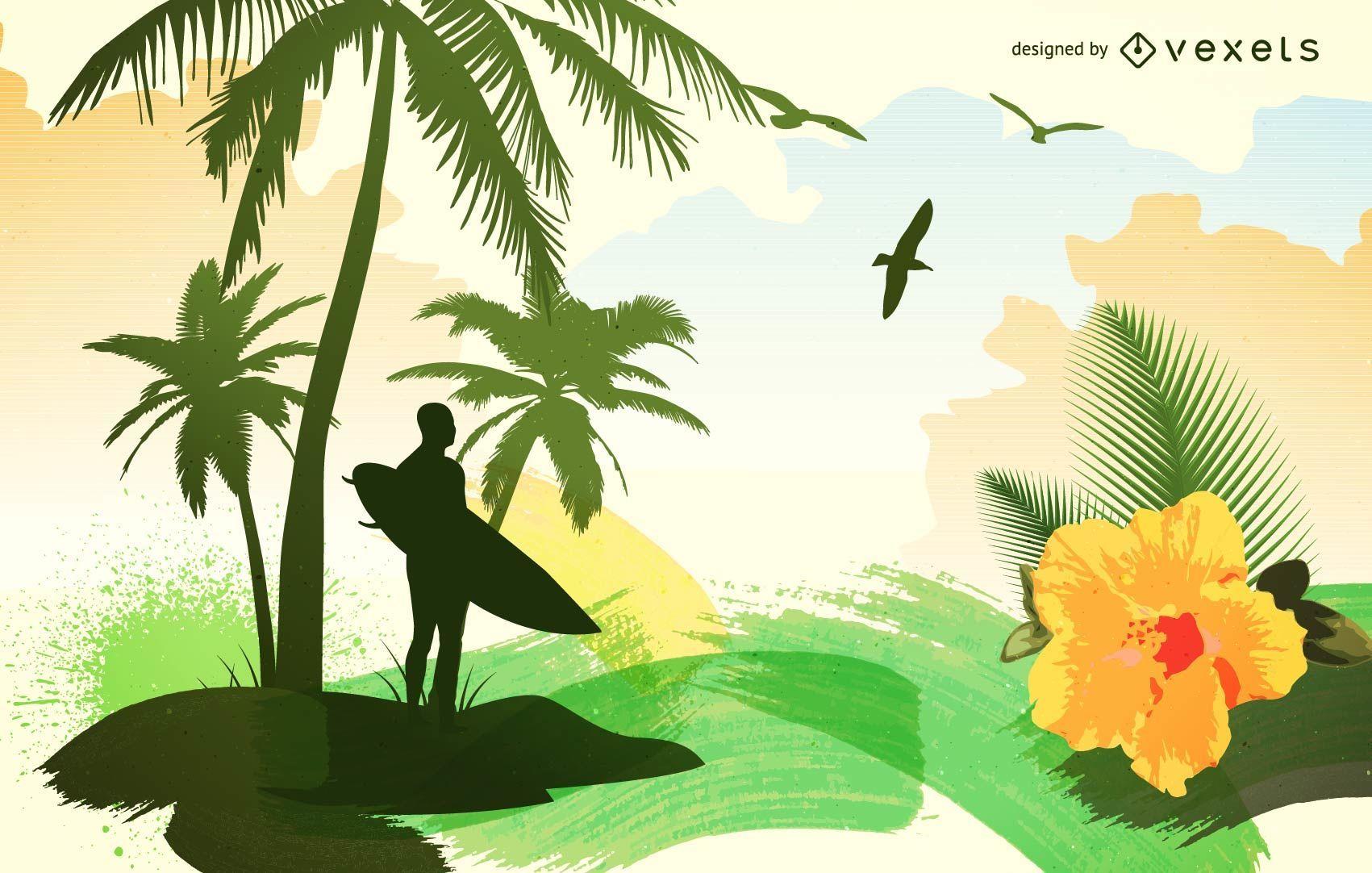 Surfer silhouette landscape design