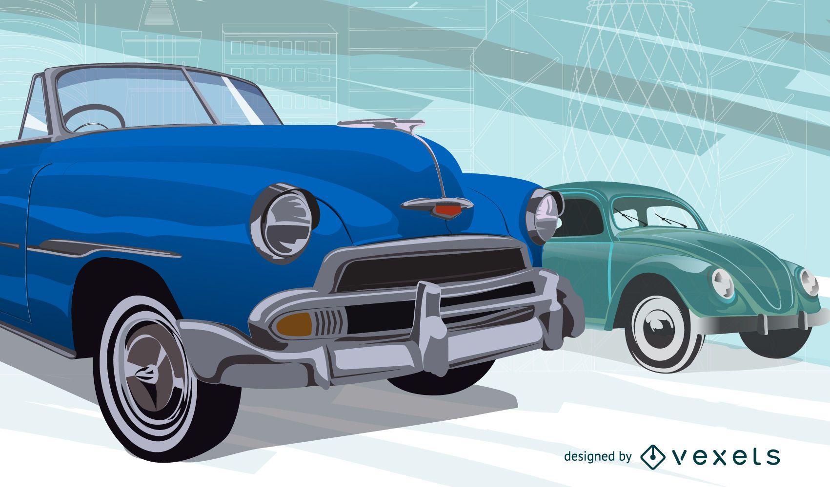 Ilustración de coches antiguos