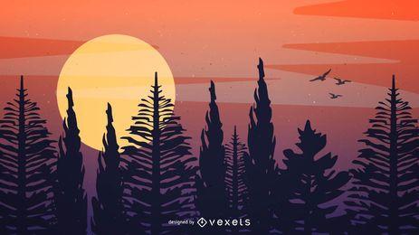 Desenho de ilustração da floresta do pôr do sol