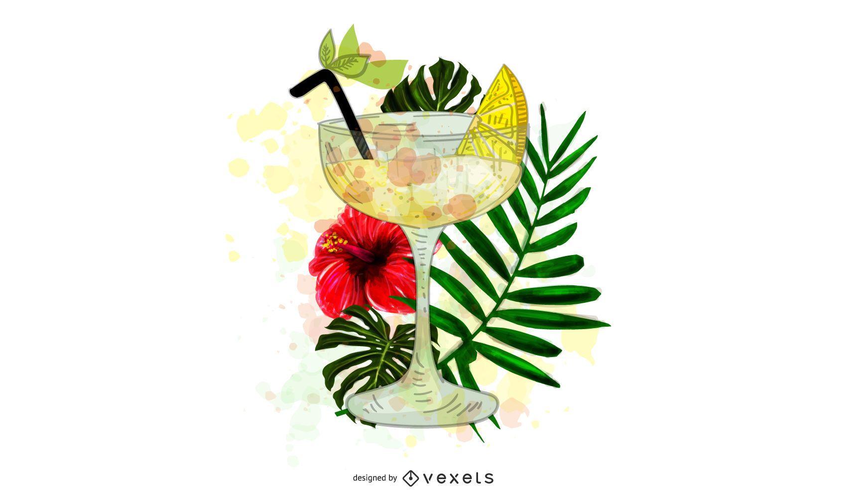 Ilustración de cóctel tropical