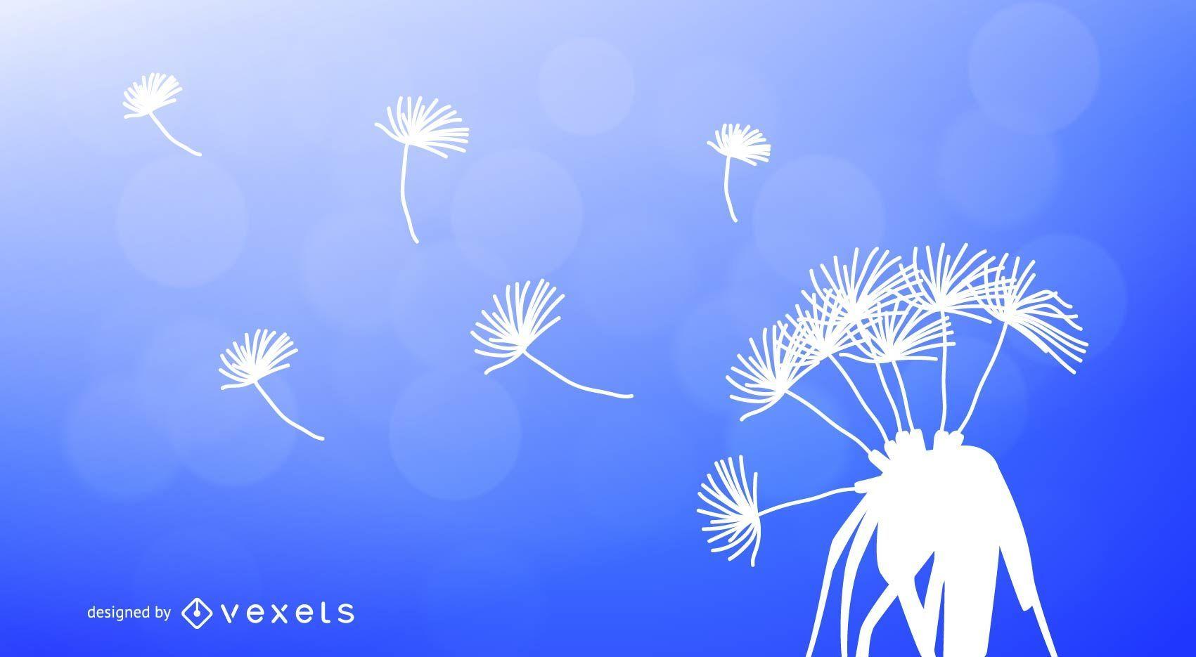 Dandelion silhouettes vector material