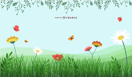 Spring scenery background
