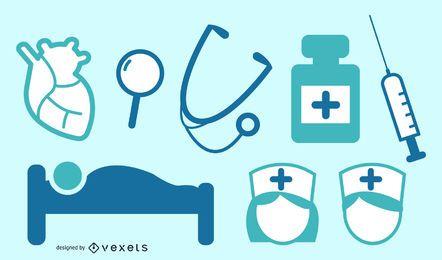 Treatment, hospital bed, blackboard