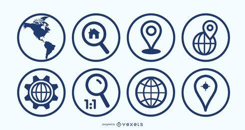 Conjunto de iconos de geolocalización de Ben Map