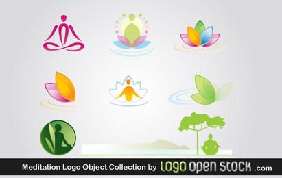 Pacote de objetos de logotipo de meditação