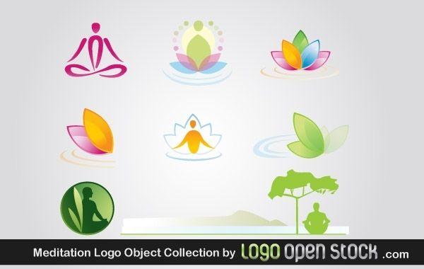 Paquete de objetos de logotipo de meditación