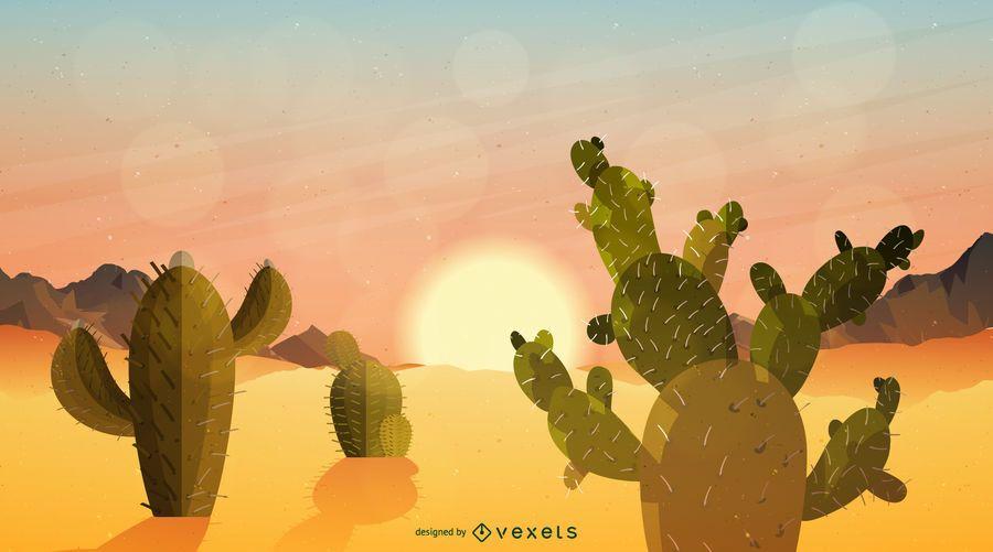 Cacto, amanhecer, deserto