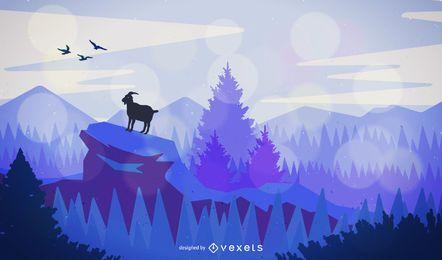 Landschaft mit Ziege