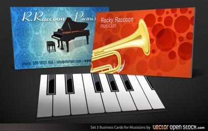 Conjunto de tarjetas de visita de músicos 3