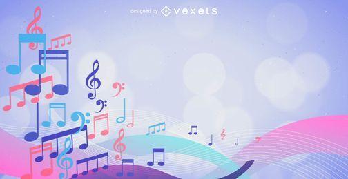 Fundo de notas musicais coloridas