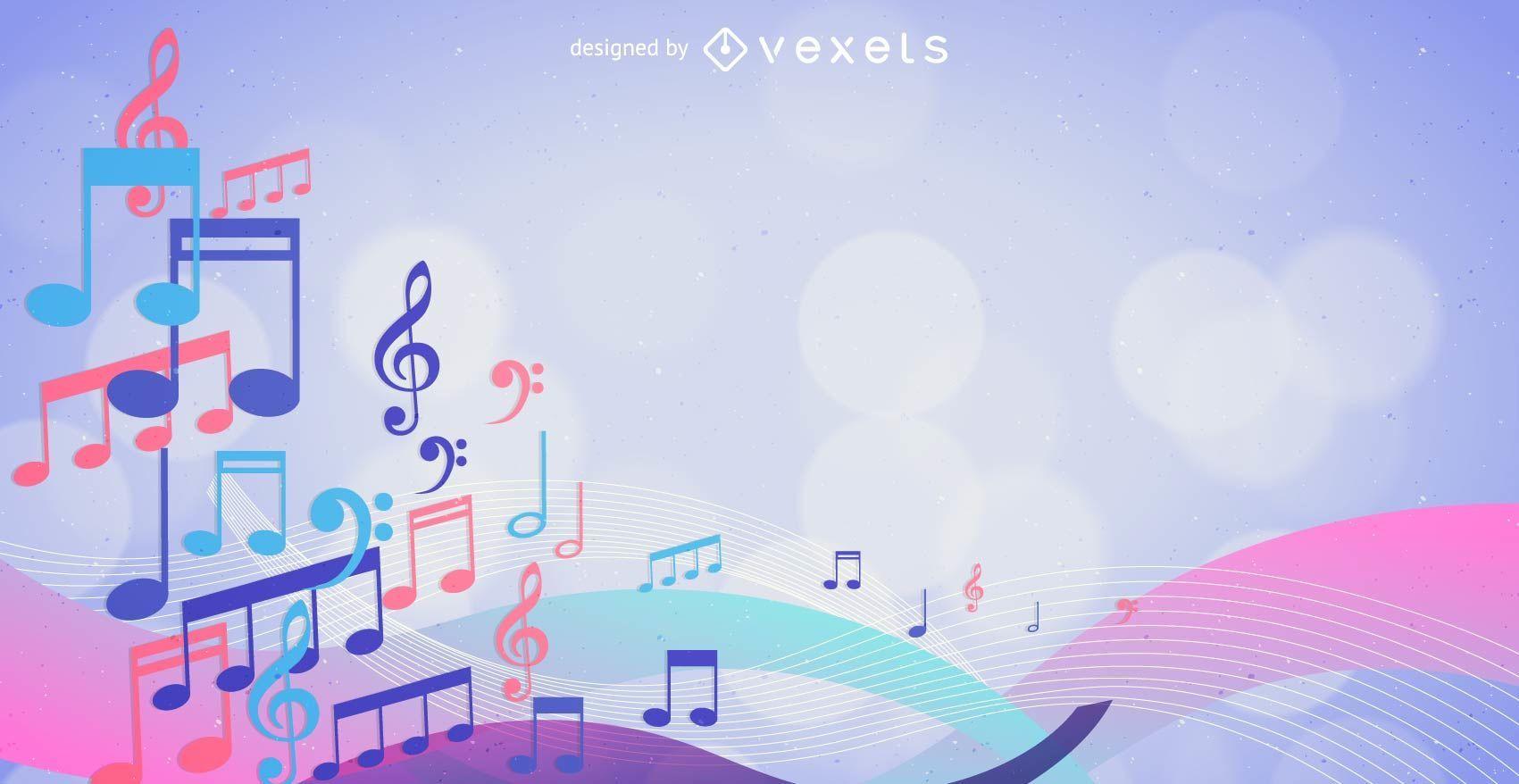 Bunter musikalischer Notenhintergrund