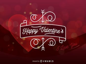 Happy Valentine's Day Heart Vector Card
