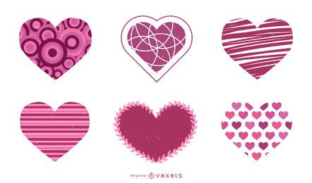 Conjunto de vetores de coração dia dos namorados