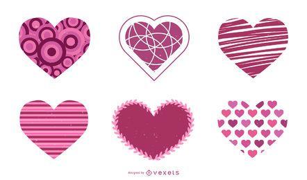 Valentinsgruß-Tagesherz-Vektorsatz