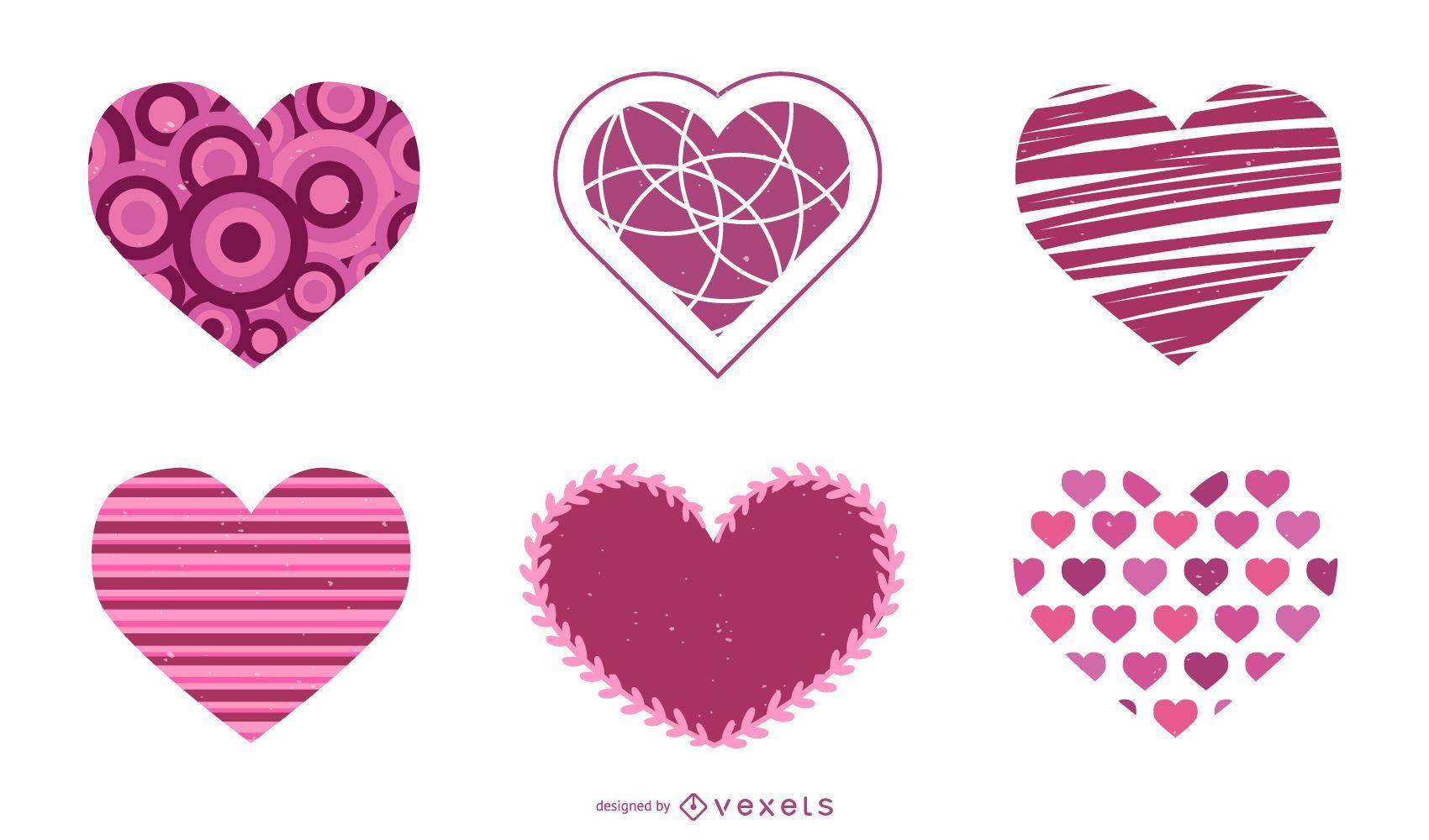 Conjunto de vectores de corazón de día de San Valentín