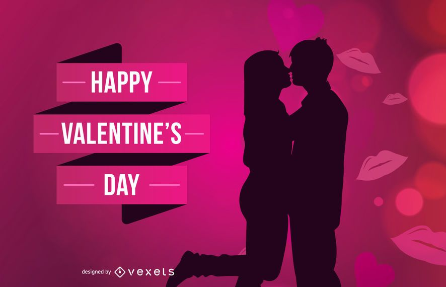 Valentines Day couple kissing - Vector download