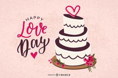 Desenho vetorial de bolo de dia dos namorados
