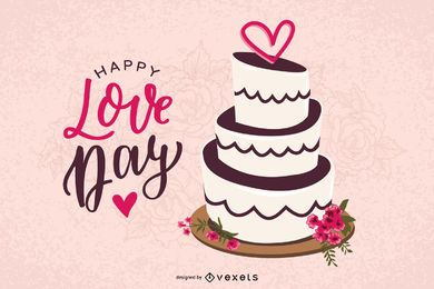 Valentine Day's Cake Vector Design