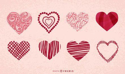 Conjunto de ícones de corações do dia dos namorados