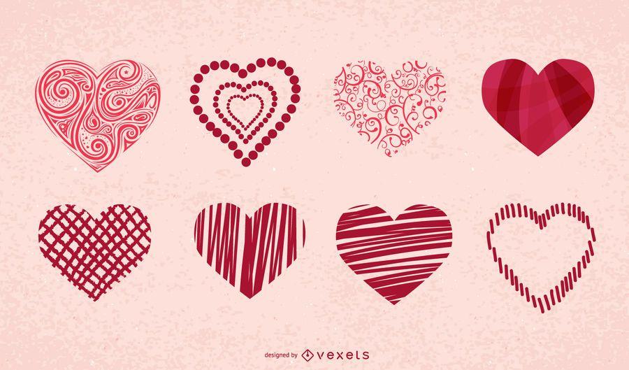 Conjunto de iconos de corazones de San Valentín