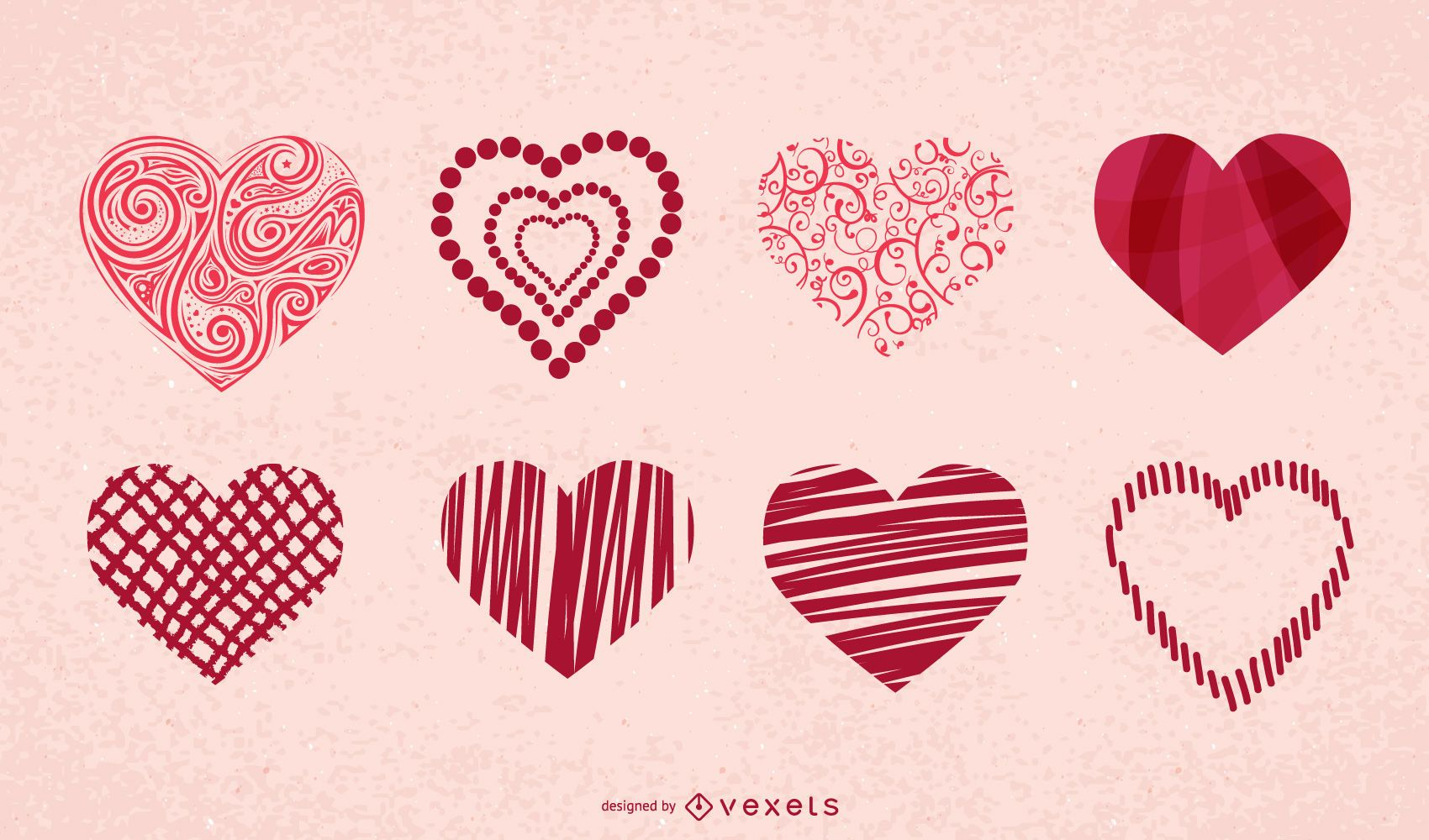 Valentine's hearts icon set