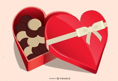 Caixa de chocolates vermelhos em forma de coração