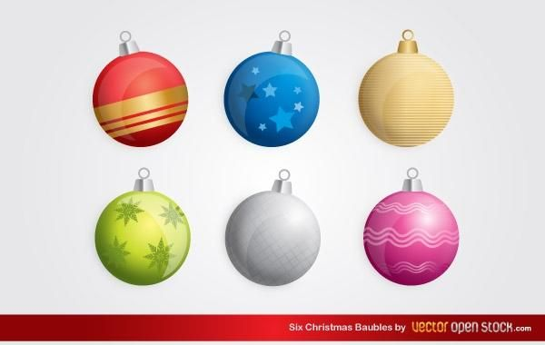 Six Christmas Baubles
