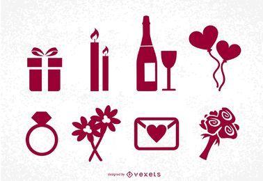 Conjunto de ícones do Dia de São Valentim