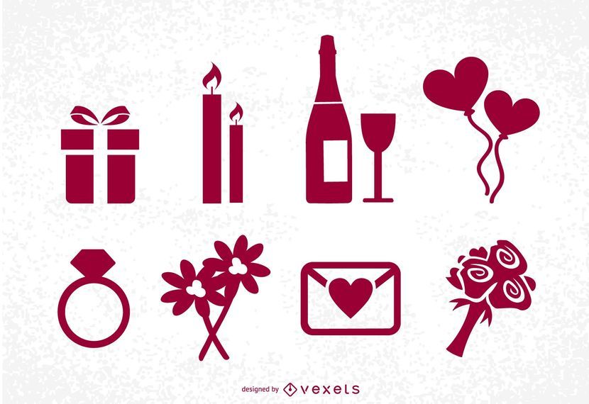 Conjunto de ícones de dia dos namorados St
