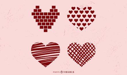 Vetores de coração de amor