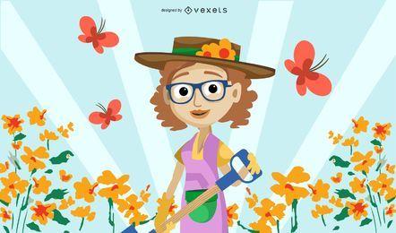 Mulher, jardinagem, ilustração