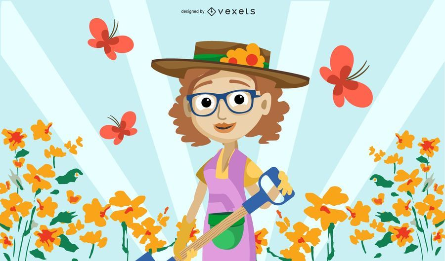 Woman gardening illustration
