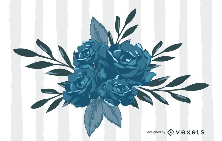 Vetor de flores azuis