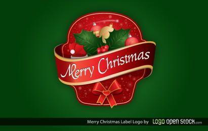 Feliz navidad etiqueta logo