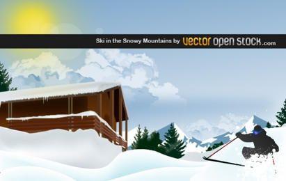 Ski im verschneiten Berg