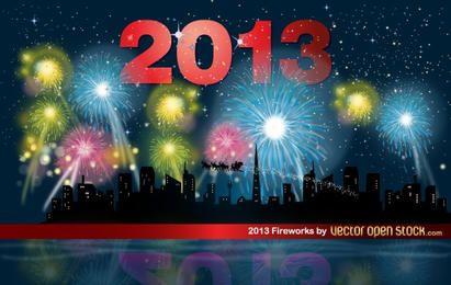 2013 Fireworks night with skyline
